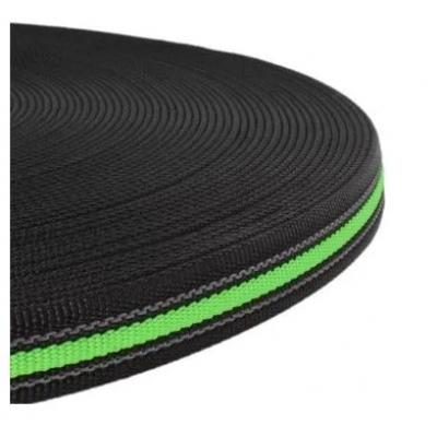 PPM band 20 mm zwart met fluor groen met rubber