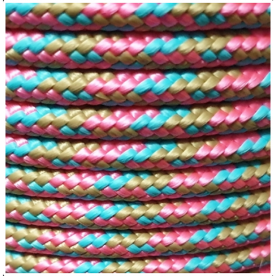PPM touw 6 mm gevuld  camel/turquoise/roze
