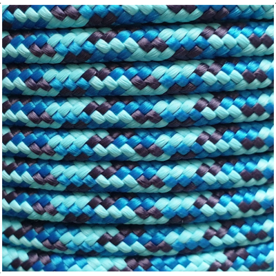 PPM touw 6 mm gevuld  turquoise/donkerblauw/vlaggenblauw